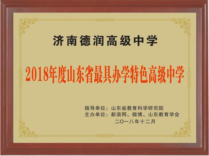 济南德润高级中学荣获2018高中山东省最具办示范性市级年度图片